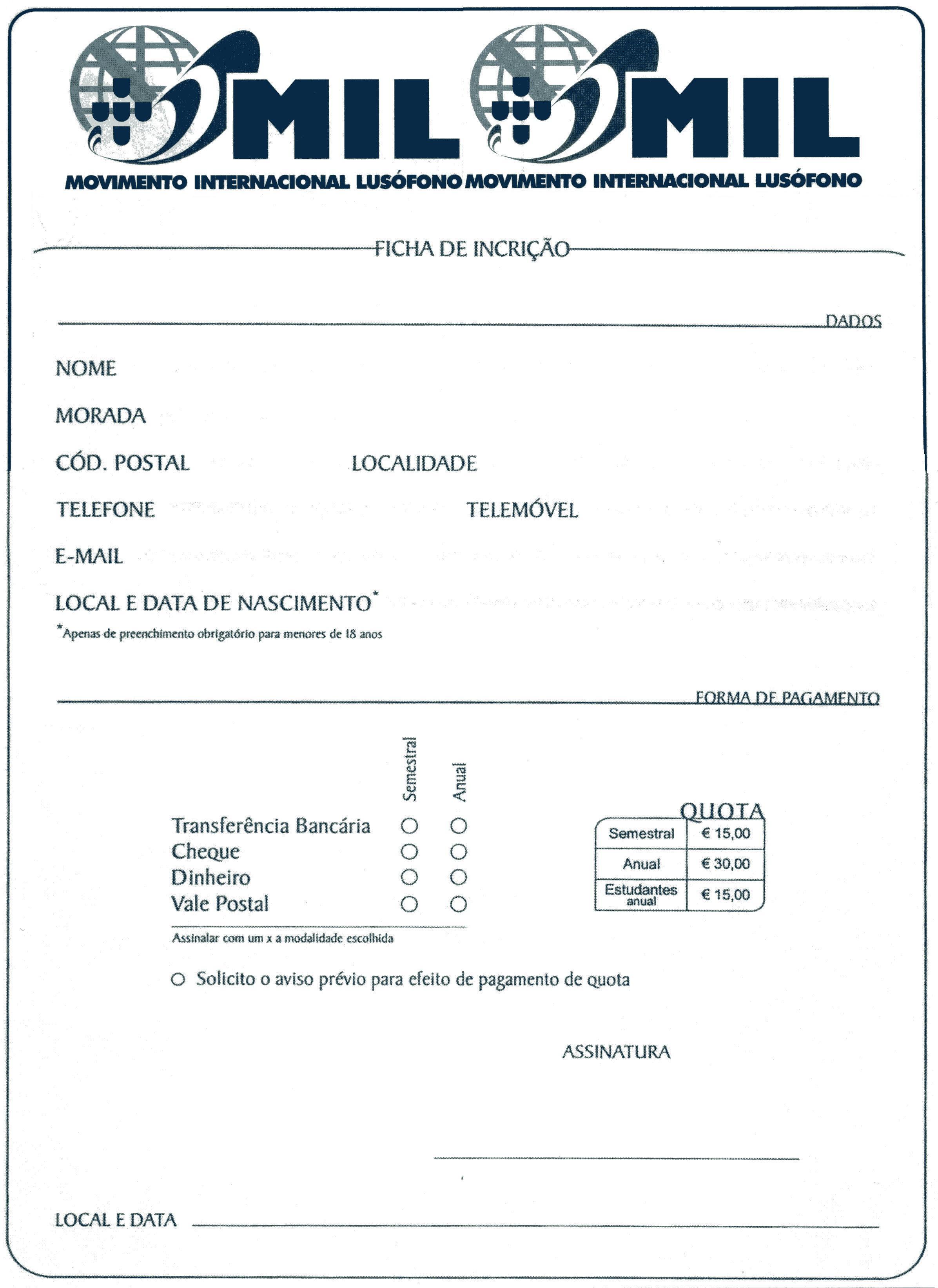 Ficha de Associado MIL