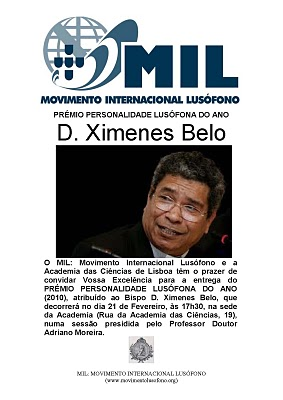Personalidade Lusófona do Ano: D. Xímenes Belo